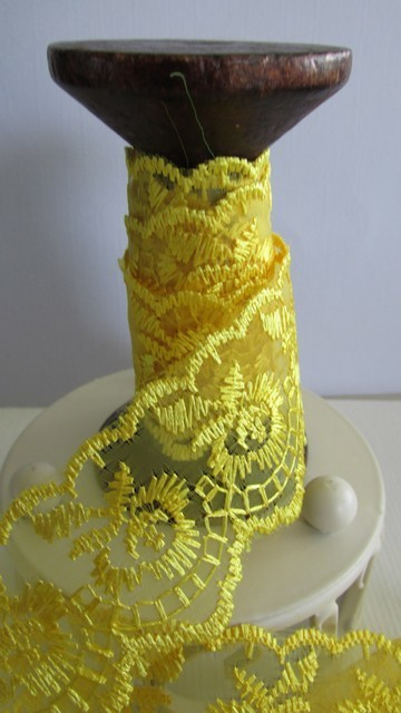 Yellow Embroidered Organza Lace