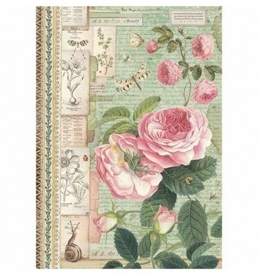 Spring Botanical - Rose with Snail Rice Paper