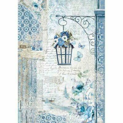 Blue Lamp Rice Paper