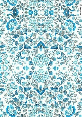 Blue Arabesque Rice Paper