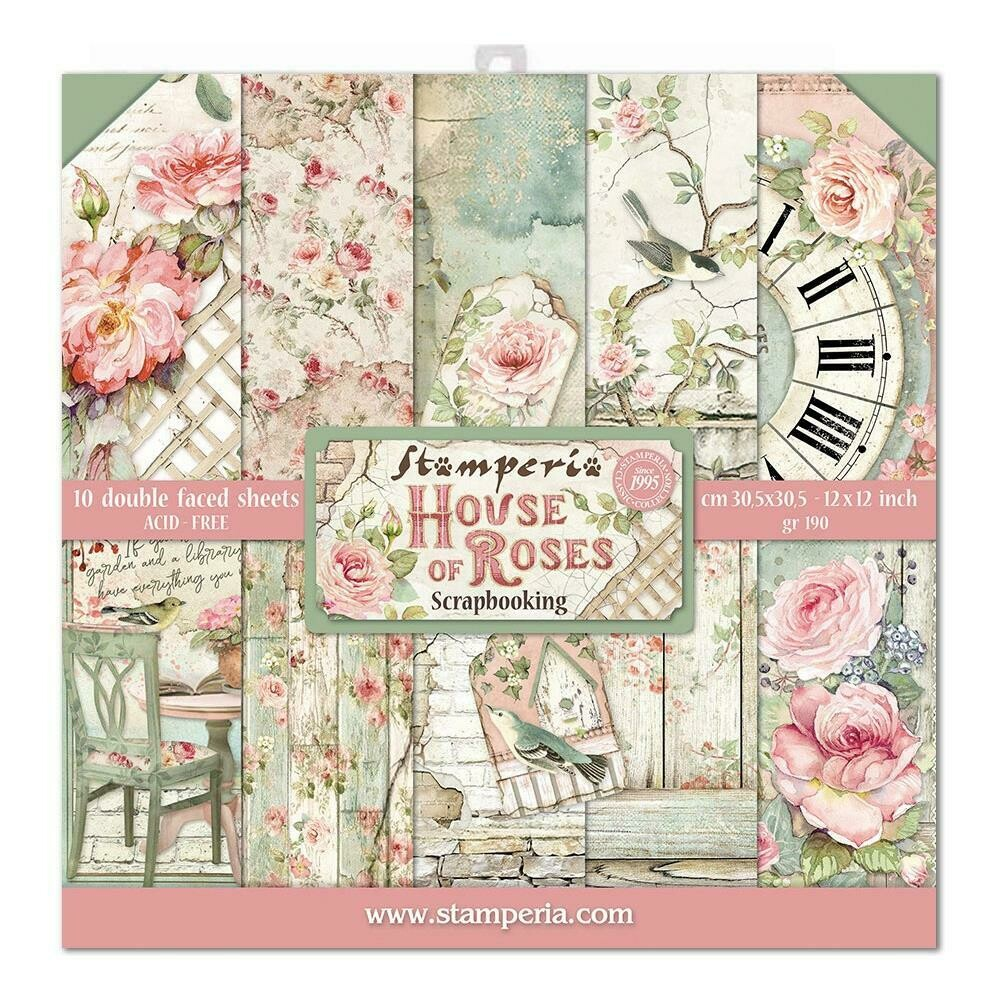 STAMPERIA HOUSE OF ROSES 12x12 Paper Set