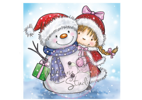 Girl and Snowman Clear Stamp
