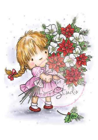 Girl with Xmas Bouquet Clear Stamp