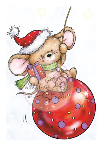 Mouse on Bauble Clear Stamp