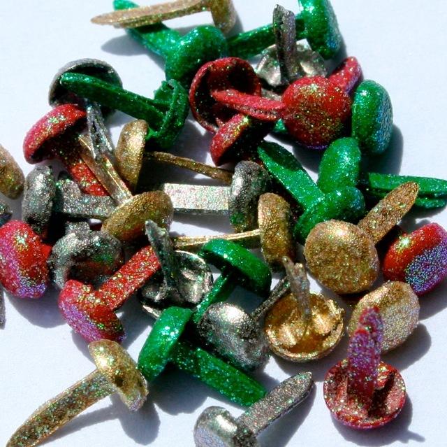 Christmas Mix Glitter Brads 3/16