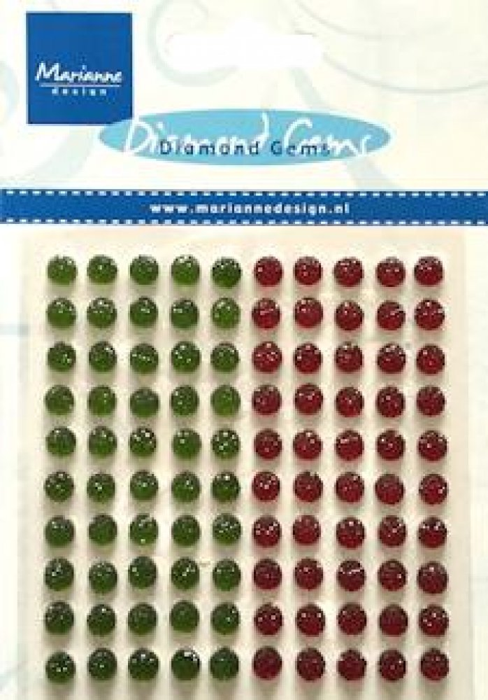 Diamond Gems 100pcs - Red & Green