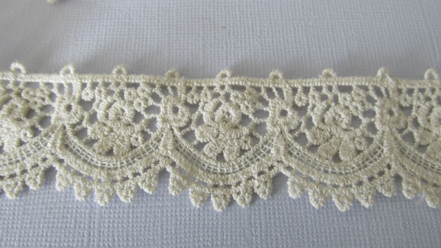 Beige Cotton Embroidered Lace