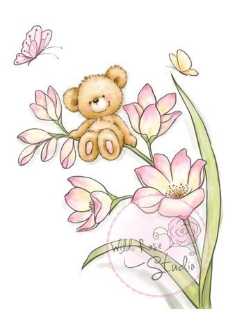 Bear on Flower stamp