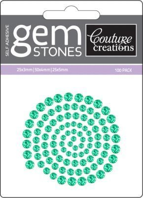 Green Envy - Self Adhesive Gemstones x 100
