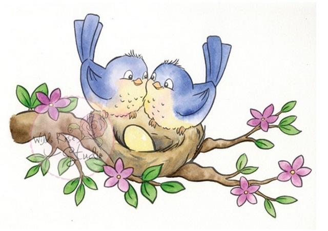 Birds on Nest stamp