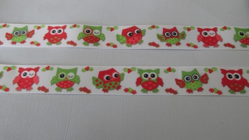 Xmas Owls Grosgrain Ribbon 22mm