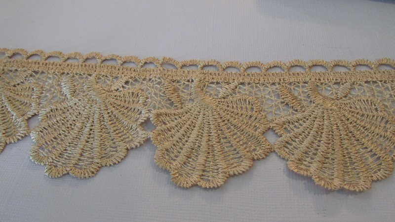 Mesh Applique Scallop Lace - Gold