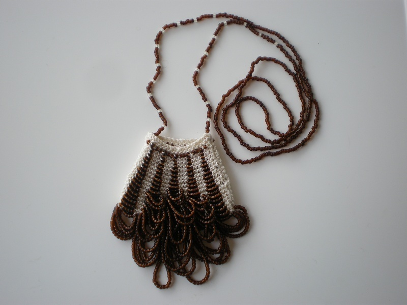 Knitted Bead Purse Necklace