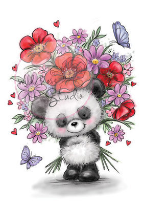 Panda With Flowers Clear Stamp