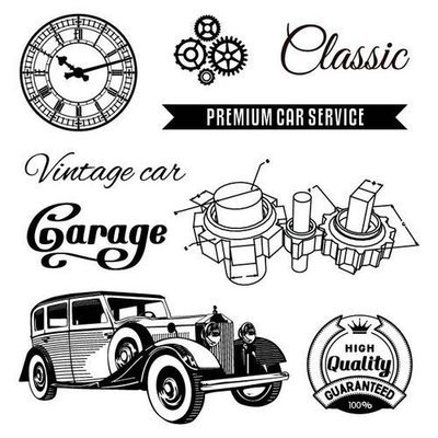 Auto Vintage - Garage Stamp set