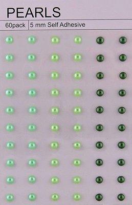60 Mixed Green Self Adhesive Pearls 5mm