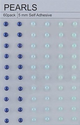 60 Mixed Blue/Aqua Self Adhesive Pearls 5mm