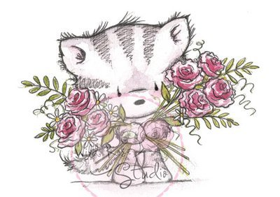 Elsie With Roses Clear Stamp