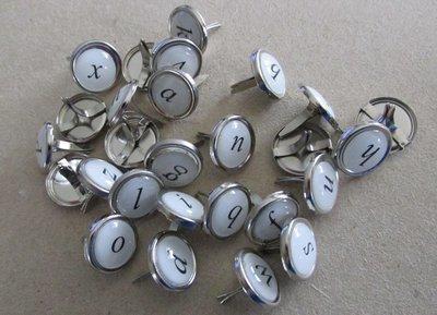 Alphabet Brads - Silver with white centres