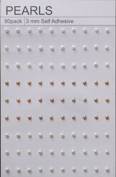 90 White Ivory & Tan Self Adhesive Pearls 3mm
