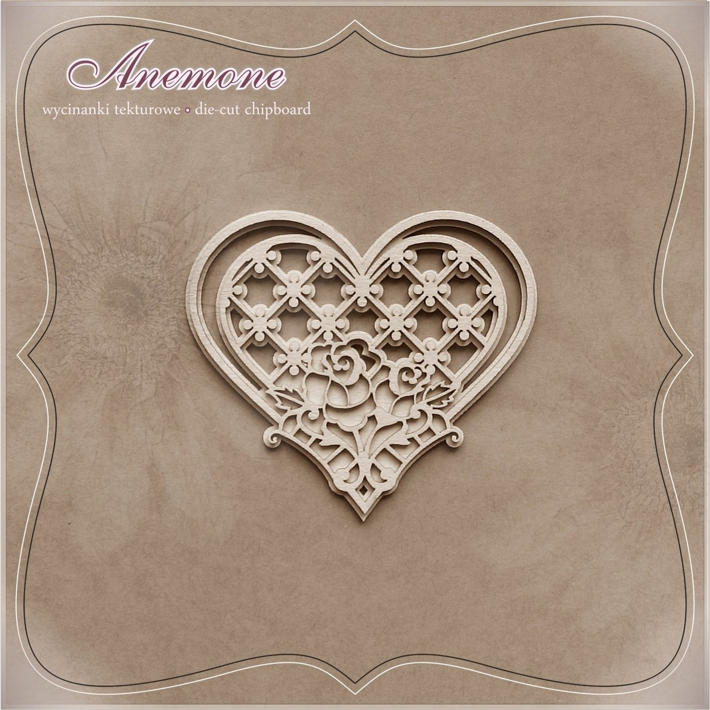 Heart With Rose & Lace Background - 2D