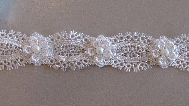 Pearl Flower Lace - White