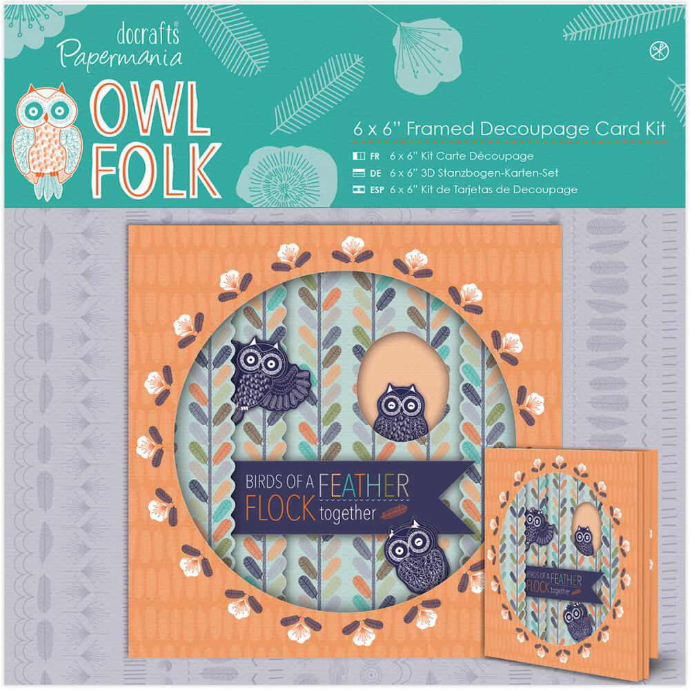 'Owl Folk' 6x6 Framed Decoupage Card Kit