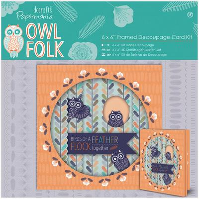 'Owl Folk' 6x6 Framed Decoupage Card Kit
