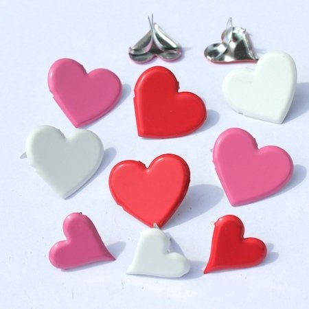 Hearts Brads - Pink, Red & White