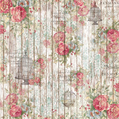 Rose & Small Cage on Wood Background Rice Paper Napkin