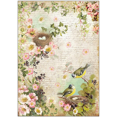 Peach Flowers & Nest Rice Paper