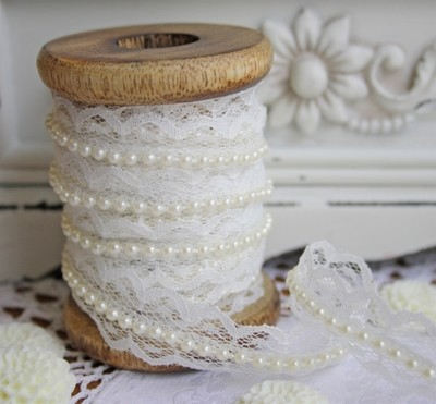 Ivory Lace with Cream Pearls - 17mm