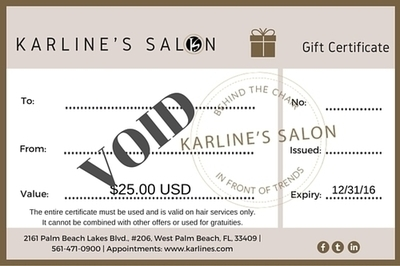 Karline's Salon Gift Certificate-25