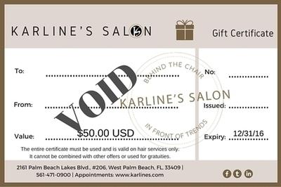 Karline's Salon Gift Certificate-50