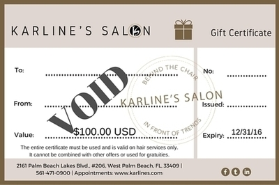 Karline's Salon Gift Certificate-100