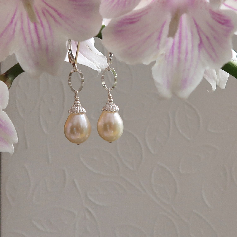 White Cultured Pearl Earrings