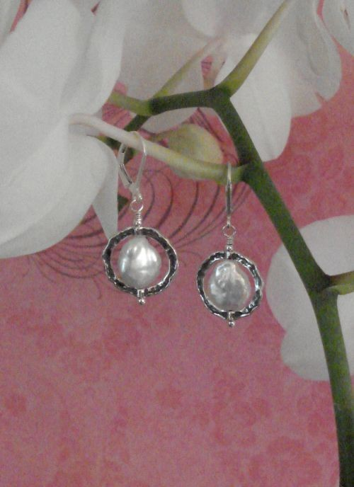 Hammered Silver & Pearl Earrings