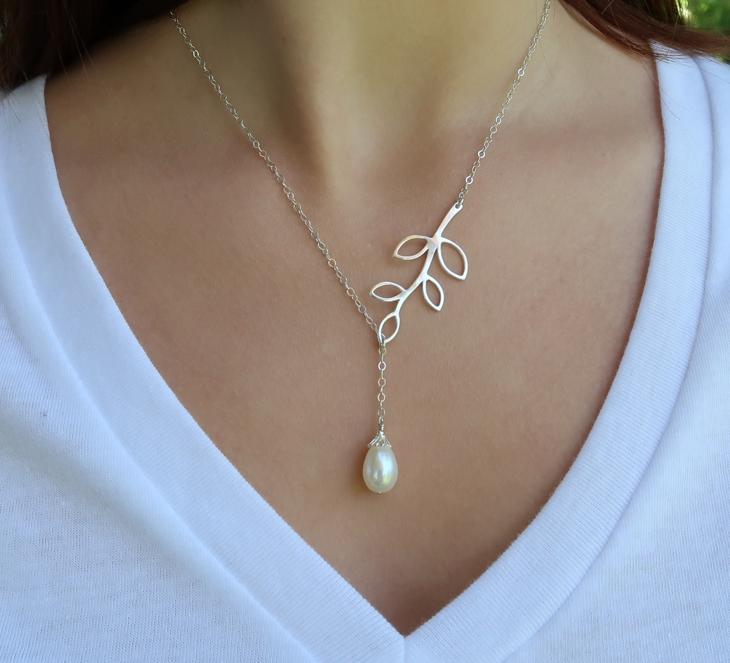 White Pearl Branch Necklace