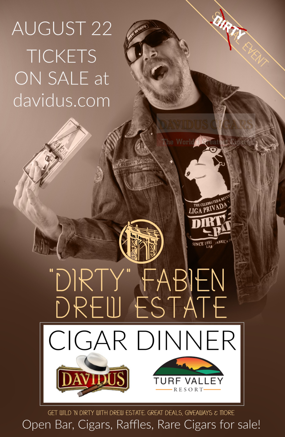 Cigar Dinner with Dirty Fabien - Make one ticket per purchase unless your ticket holders want the same selected dinner selection.