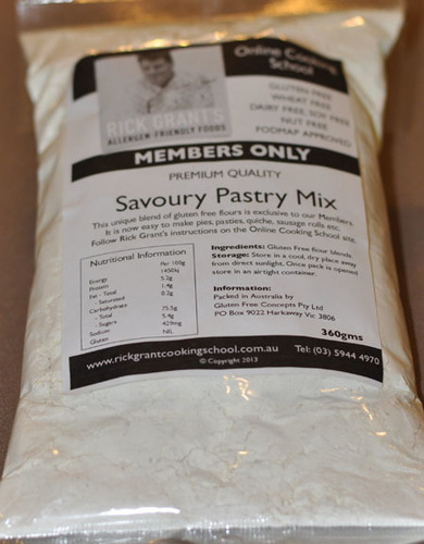 Rick Grant's GF Savoury Pastry Mix Rick Grant's savoury Pastry Mix is a fantastic, easy to make mix. Great for Gluten Free Pies, Sausage Rolls, Pasties or anything that requires pastry! Give it a go!