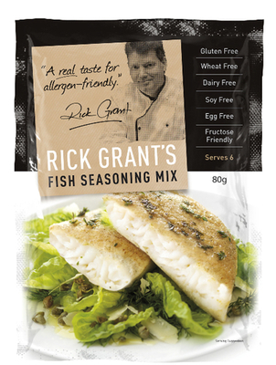 Rick Grant's Fish Seasoning Mix Rick Grant's Fish Seasoning is a delicate blend that includes Australian Lemon Myrtle and adds that delicious flavour.