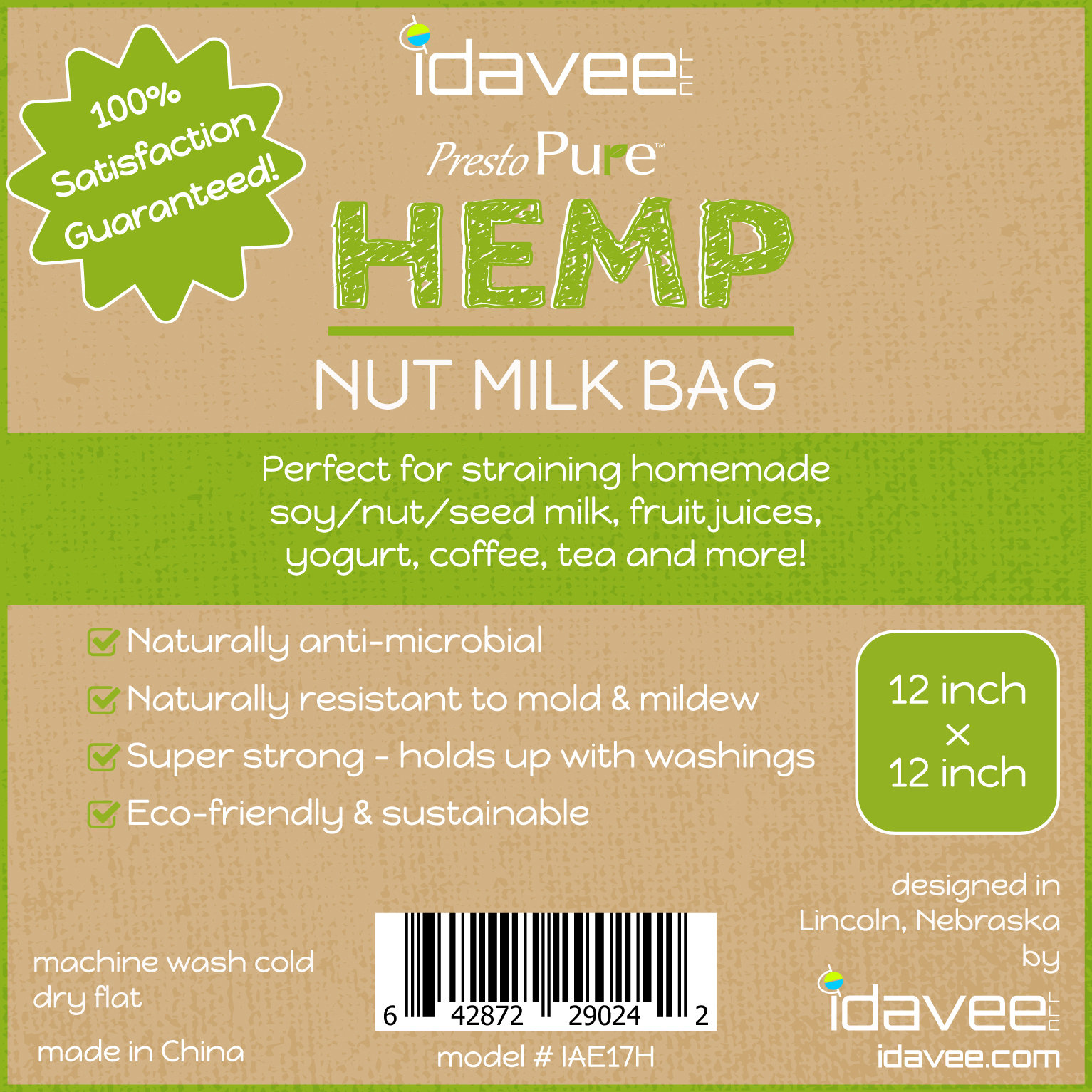 "Idavee Brand Presto Pure IAE17H 12x12"" Reusable Hemp Straining Bag"