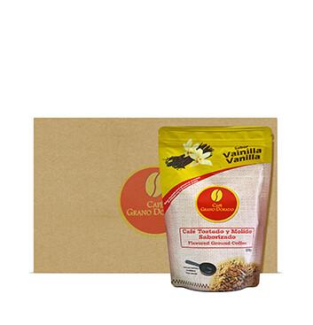 Caja con Café Grano Dorado Sabor Vainilla (Molido) - 8x300g