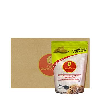 Caja con Café Grano Dorado con Cardamomo (Molido) - 8x300g
