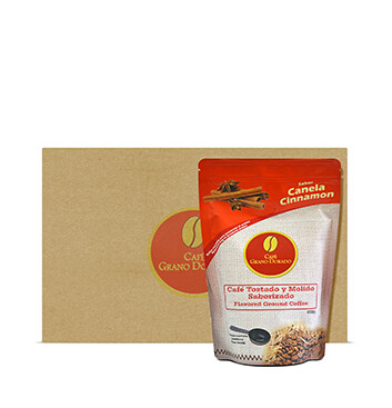 Caja con Café Grano Dorado con Canela (Molido) - 8x300g