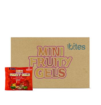 Caja de Mini Gelatinas Mini Fruity Gels® Bolsa Tropical - 120x75g