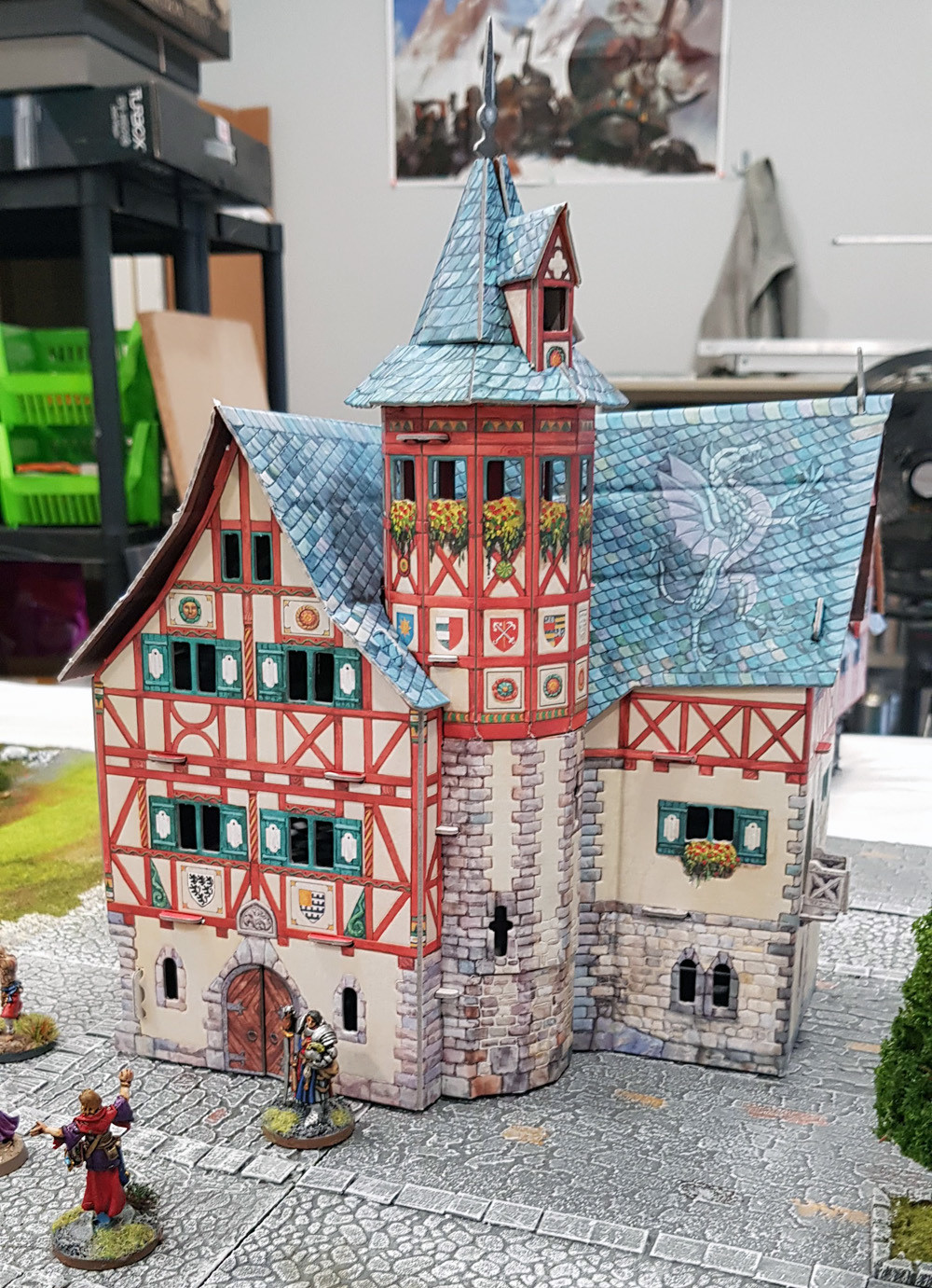Large Town Hall - Medieval City Buildings, Cardboard (Assembled or not)