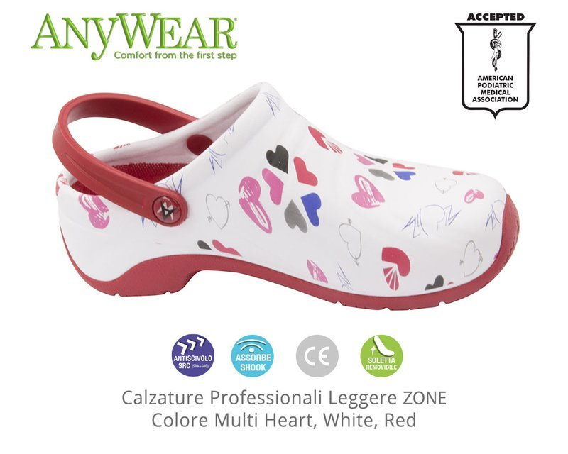 Calzature Professionali Anywear ZONE Colore Multi Heart, White, Red