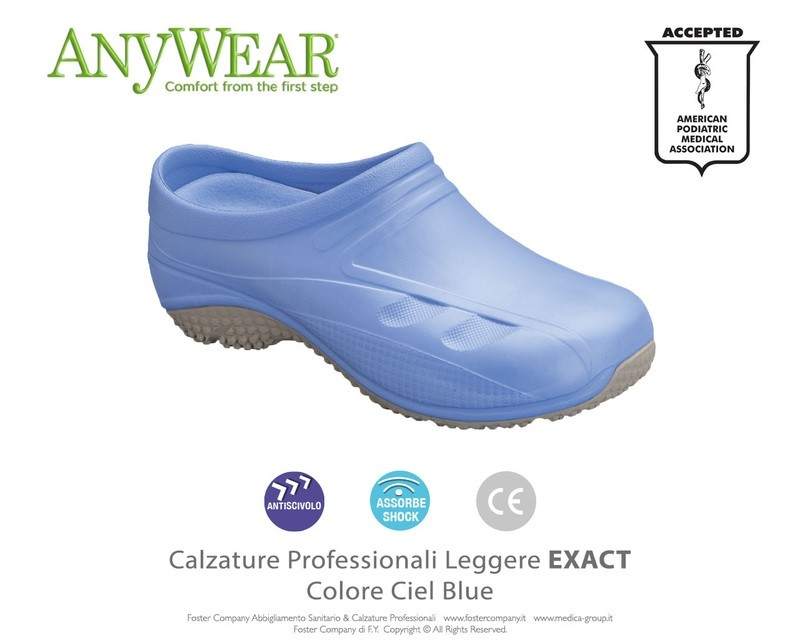 Calzature Professionali Anywear EXACT Colore Ciel Blue FINE SERIE