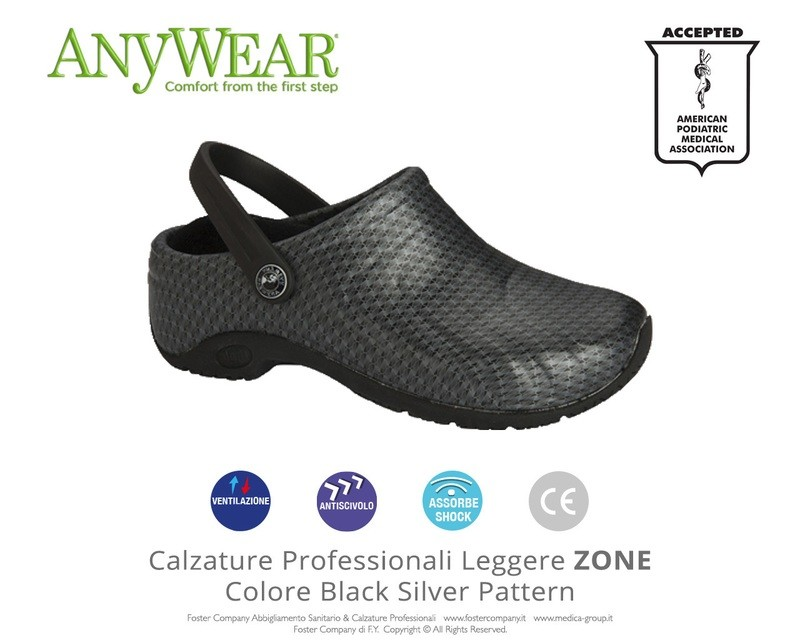 Calzature Professionali Anywear ZONE Colore Black Silver Pattern